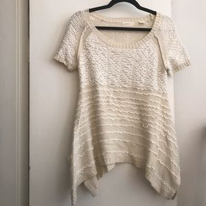 Anthropologie Cream and White Knitted Sweater